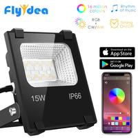RGB LED Floodlight 15W Bluetooth4.0 APP Group Control Outdoor Smart Flood Light IP66 Waterproof Garden Color Changing Spotlight