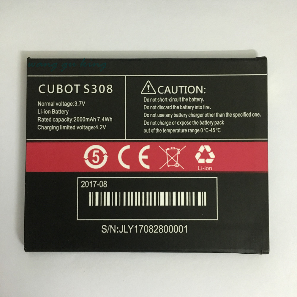 CUUSEY 2017 New <font><b>Cubot</b></font> <font><b>S308</b></font> Li-ion <font><b>Battery</b></font> For <font><b>CUBOT</b></font> <font><b>S308</b></font> 2000mAh Hight Capacity Top Quality Cell Phone Replacement <font><b>Batteries</b></font> image