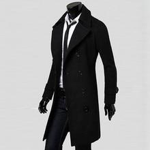 Winter Men Slim Stylish Trench Coat Double Breasted Long Jacket Parka   Y81723