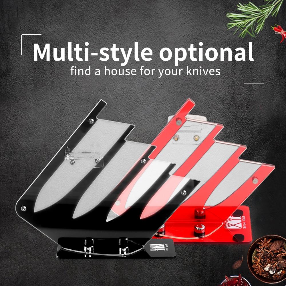 XYj Plastic Knife Holder Multifunctional Acrylic Kitchen High-Grade Tools Block  For 4 5 Piece Ceramic Knives + 1pcs Peeler