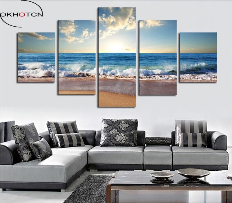 ٩(^‿^)۶OKHOTCN enmarcado pintura al óleo 5 unidades La Playa Mar ...