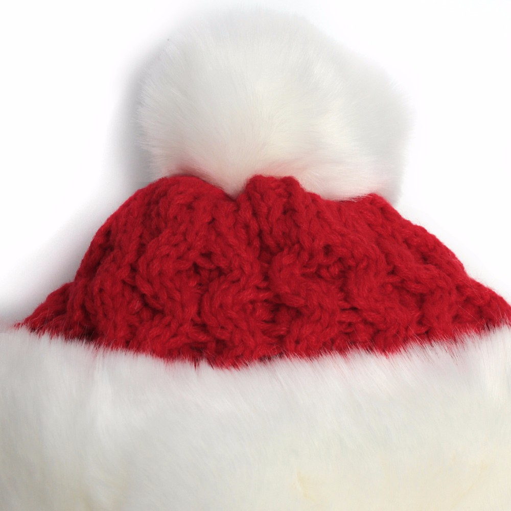 2016 Christmas Hats For Adults Women Winter Twisted Knit Beanies With Pompom Imitation Rabbit Hair Thick Warm Snow Earflap Cap  (3)