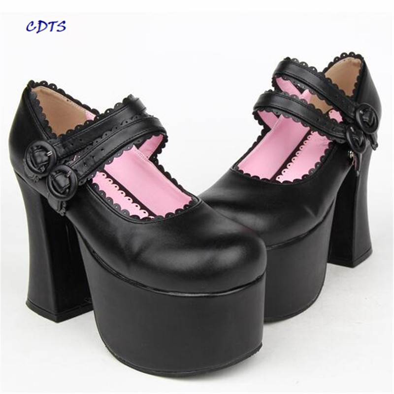 CDTS zapatos mujer Plus:34-44 Lolita 12cm ultra high thick heel laciness dress princess shoes woman Round Toe Buckle Pumps eur 34 44 angelic imprint zapatos mujer lolita cosplay punk pumps high boots princess sweet girl s pumps black women s shoes