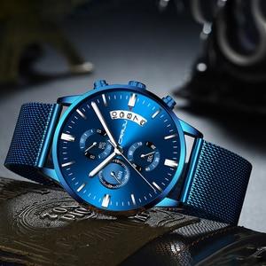 Image 4 - Relogio masculino crrju 새로운 최고 브랜드 럭셔리 시계 남성 패션 캐주얼 쿼츠 시계 남성 스테인레스 스틸 블루 방수 시계
