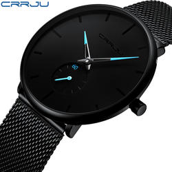 Crrju лучший бренд класса люкс часы для мужчин нержавеющая сталь ультратонкие часы Классический Кварцевые наручные часы Relogio Masculino
