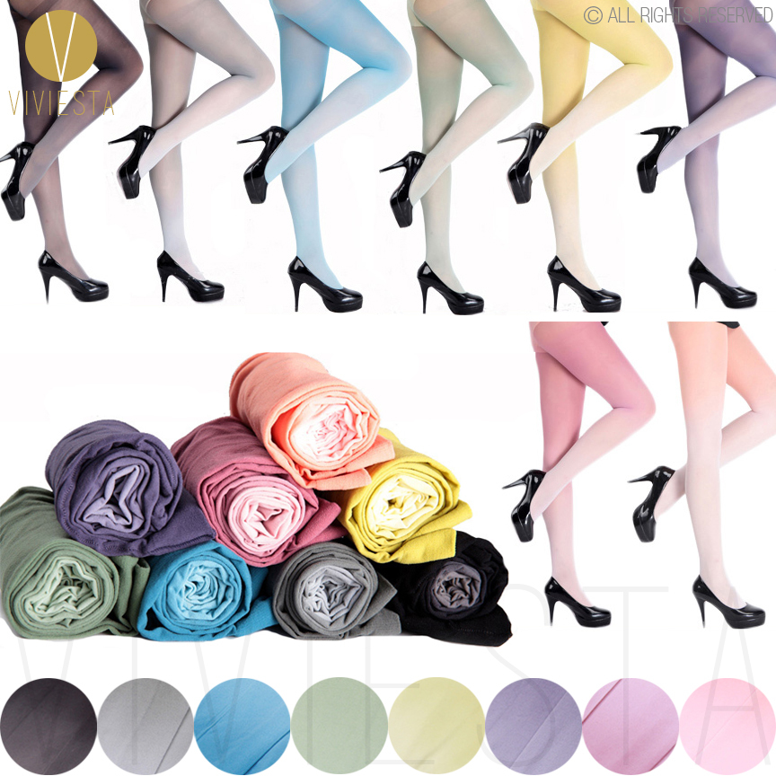 gradient color opaque tights 30d womens girls fashion trend cute sexy sheer ombre candy - Collants Colors