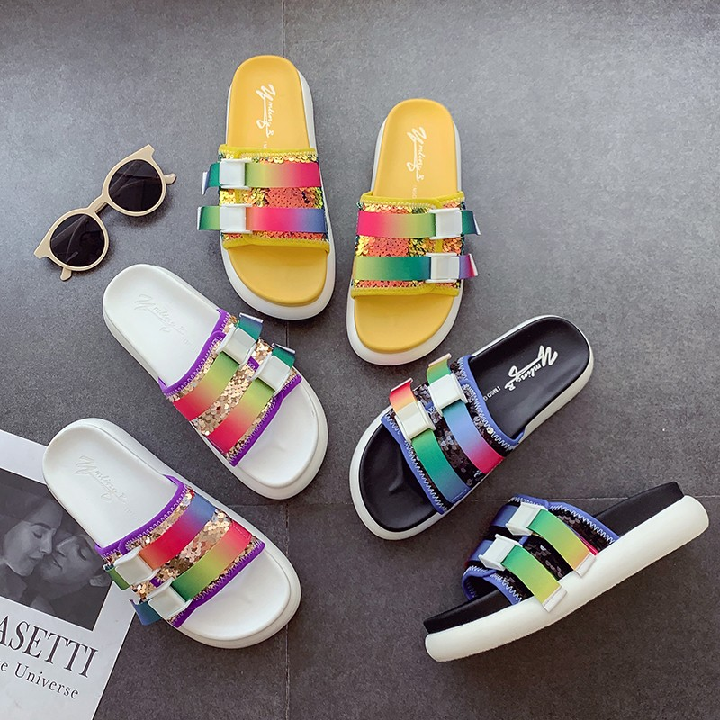 2019 Summer New Slides Slippers Women Shoes Flat Comfortable Peep Toe Buckle Platform Slippers Multicolor Casual Beach Sandals2019 Summer New Slides Slippers Women Shoes Flat Comfortable Peep Toe Buckle Platform Slippers Multicolor Casual Beach Sandals