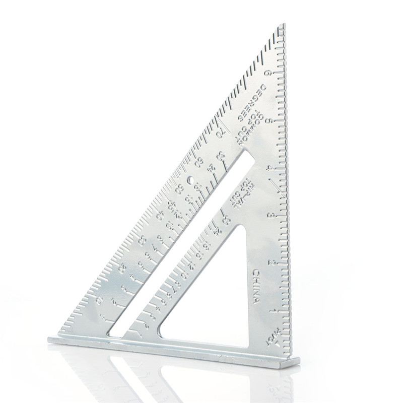 Professional Protractor 7-inch aluminum alloy carpentry triangle ruler metric inch 90 degree 45 degree square triangle ruler