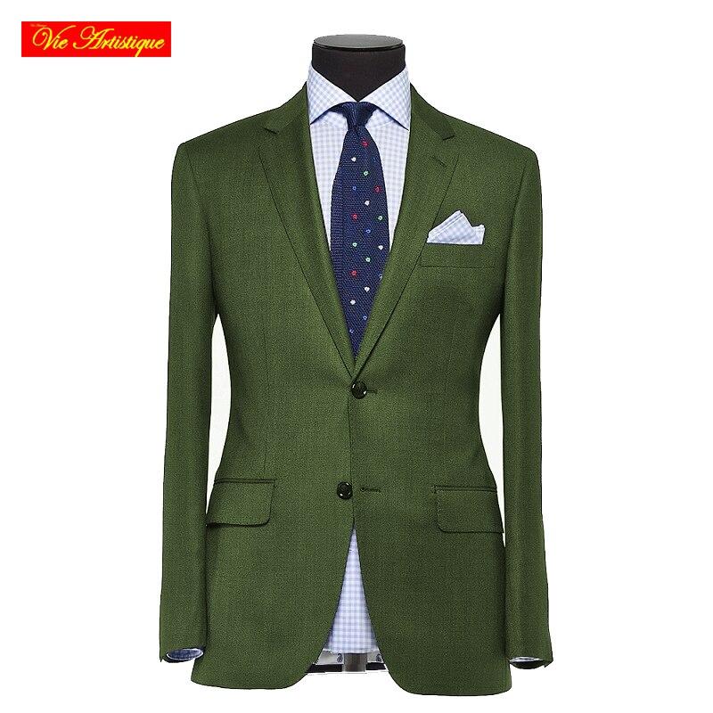 Custom Tailor Made Men's Suits Business Formal Wedding Ware Bespoke 3 Piece (Jacket+Pants+Vest) Wool Polyester Blend Slim Fit