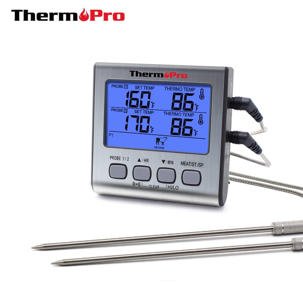ThermoPro TP17 Dual Sonde Kochen Im Freien Fleisch Thermometer Großen Lcd-hintergrundbeleuchtung Essen Grill Thermometer mit Timer Modus für Raucher