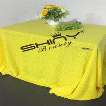 ShinyBeauty 90x156inch Yellow Sequin Table cloth for Wedding/Party/Events Tablecloths Decoration &a