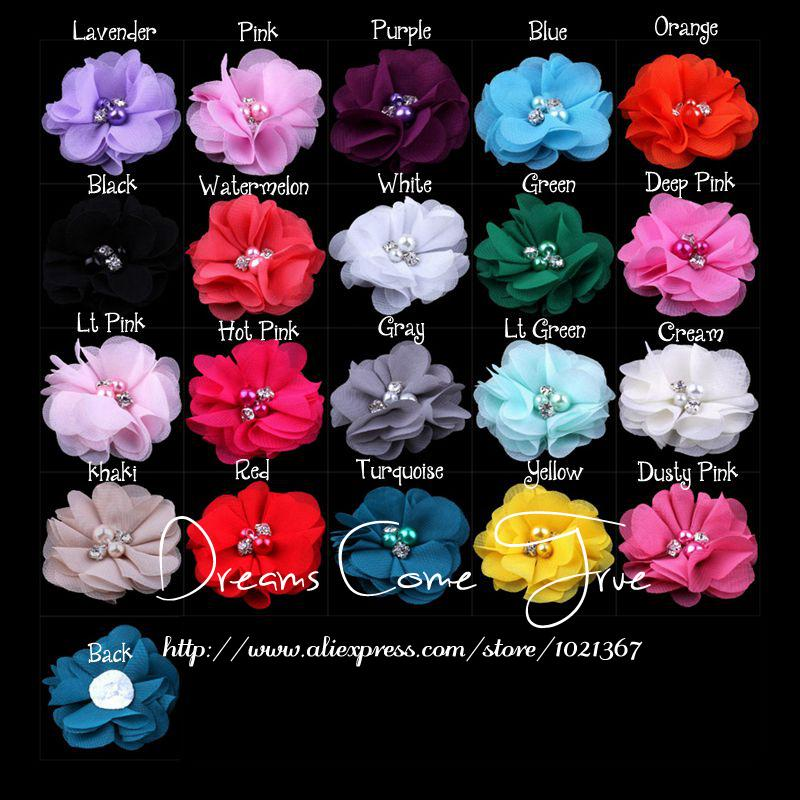 200pcs lot 2 20Colors Chiffon Flower With Beads For Baby Headband Fashion Chic Fabric Rhinestone Flower