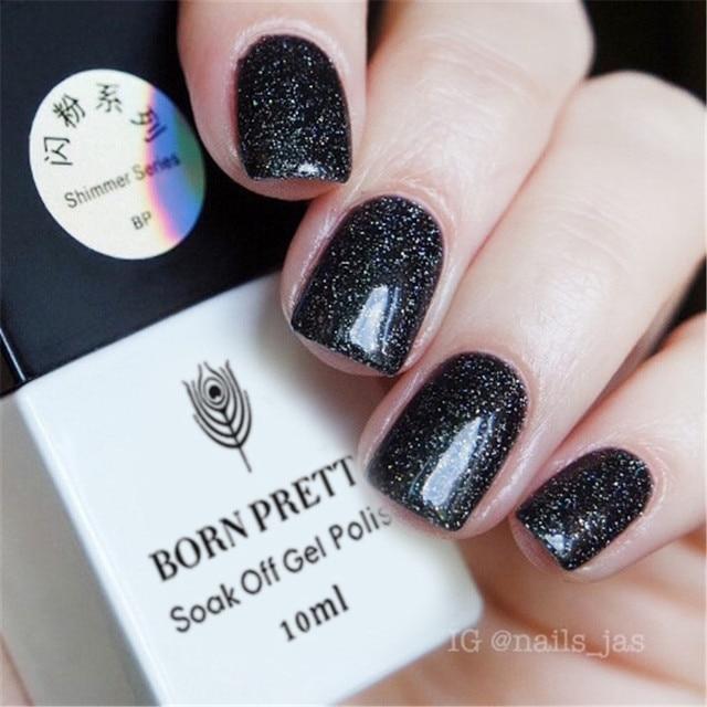 BORN PRETTY Black Glitter Gel Polish 10ml Soak Off Shining Nail Art ...