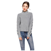 MYPF Women S New Elegant Sweater Knitting Tops Pearl Bead Irregular Turtleneck Long Sleeve Warm Pullovers