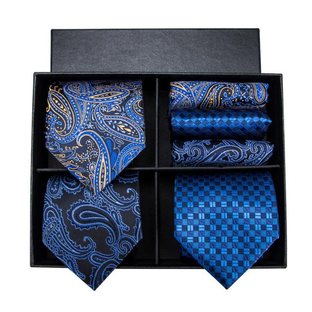 Hi-Tie Brand Luxury Designer Blue Paisley Silk Ties for Men Formal Tie Cufflinks Set Gift Box Mens Ties Men Gravata 8.5cm FN-001