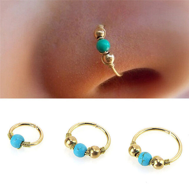 6a5ab7c59 brand Hoops Helix Piercing Ear Cartilage Surgical Steel Turquoises Septum  Clickers Nose Ring Lip Tragus Piercing