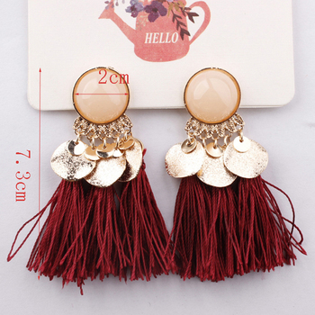 Ethnic Bohemia Women Dangle Drop Earrings Summer Round Resin Tassel for Women Fashion Jewelry 4