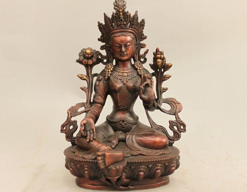 9 Tibet Raffinage Rouge bronze Buddhis Tara Verte kwan-yin Bouddha Statue9 Tibet Raffinage Rouge bronze Buddhis Tara Verte kwan-yin Bouddha Statue