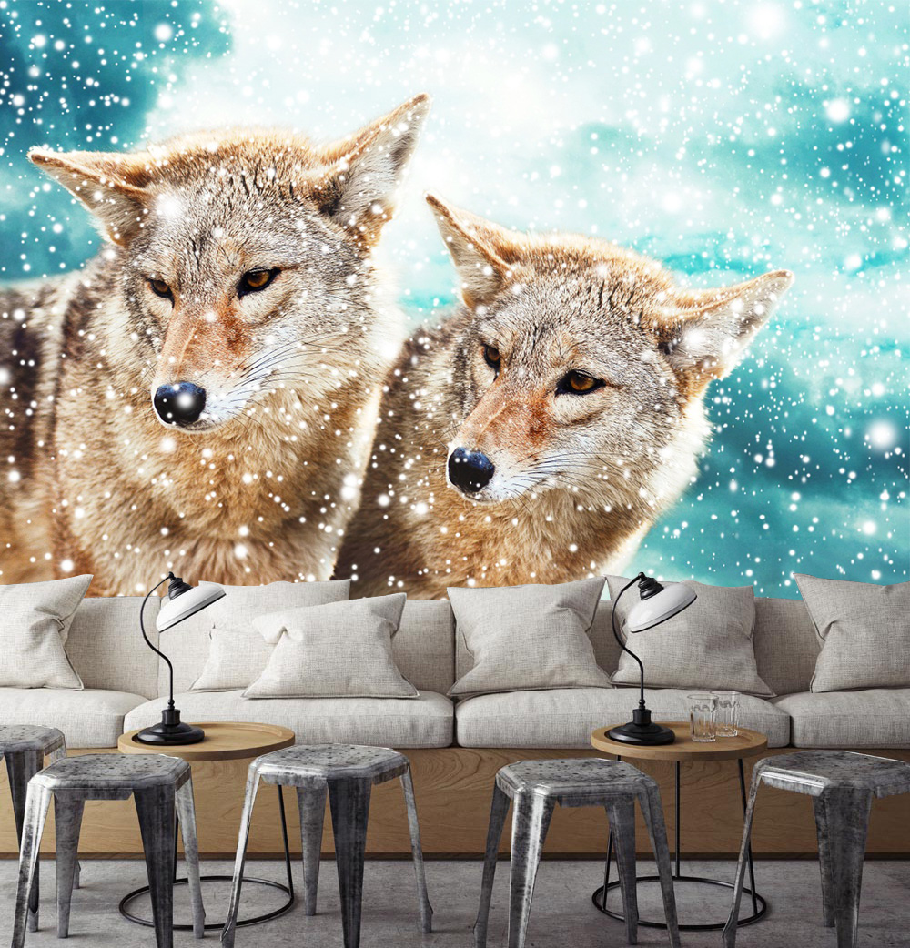 [Self Adhesive] 3D Two Wolves In The Snow Land 12 Wall Paper mural Wall Print Decal Wall Murals|Wallpapers| |  - title=