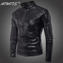 Brand new punk mens motorcycle zipper leather windproof jacket trend personality locomotive clothing