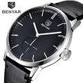 BENYAR Moda Relogio masculino Relojes Para Hombre de Primeras Marcas de Lujo Caja de Acero Inoxidable Reloj de Cuarzo de Cuero Genuino Reloj Hombre