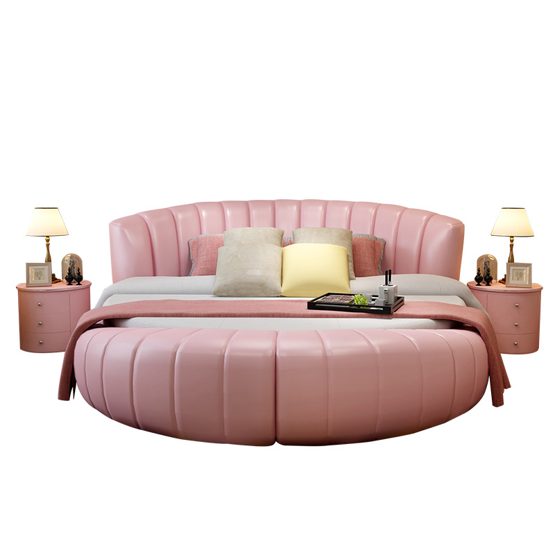 200cmX200cm Modern Genuine Leather Bed White Pink Purple