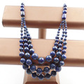 (Min.order 10$ mix) 1Strand Three Floors Lapis Lazuli Round Beads Necklace 18.5 inch SHX1227(Free Shipping)