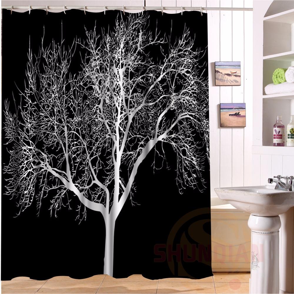 Schwarz hintergrund schnee baum lager duschvorhang polyester stoff modernes bad vorhang gre