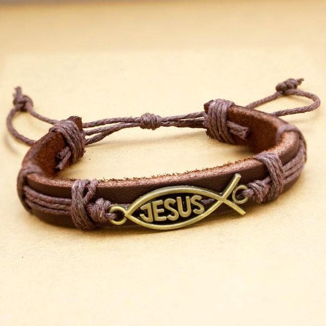 05f619fa055f63 Online Shop Catholic Religious Church Christian Jesus Fish Bible Leather  Bracelets For Women Bangle Pulseira Masculina Cuff Men Jewerly | Aliexpress  Mobile