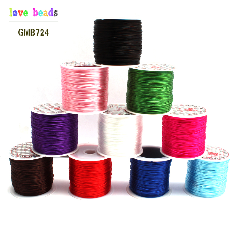 1Roll/lot 0.6mm Elastic Thread Round Crystal Line Nylon Rubber Stretchy Cord For Jewelry Making 10colors 60M Free Shipping