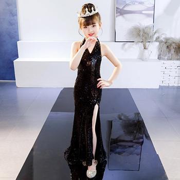 New Children Girls Sequin Mermaid Dress First Communion Gowns Backless Flower Girl Formal Party Dress Modis Vestidos Y1536