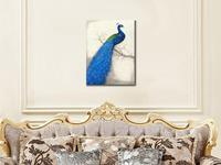 Blue Peacock Poster Print Animals Birds Wall Picture