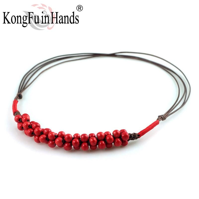 Romantische klassieke keramische Ormosia hanger ketting rood Vintage accessoire Valentijnsdag geschenk gratis verzending Handwerk sieraden