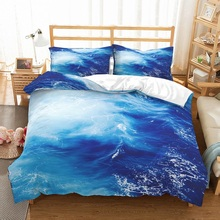 100% Microfiber Blue Sea Duvet Cover Set Boy Bedding 3 Pieces with 2 Pillowcase Summer Ocean Family Bed Linen Bedclothes