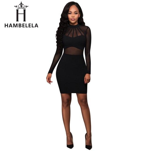 HAMBELELA Women Summer Bandage Dress 2017 Black Long Sleeve Mesh Sheer  Tunic Party Dresses Sexy Club Wear Bodycon Bandage Dress e72398e16d1a
