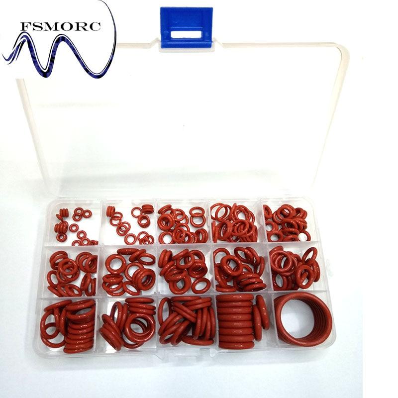 236 Pièces Id (2.8 ~ 26mm) * épaisseur (1.8 ~ 4mm) Rouge Silicone O-ring Set Haute Qualité O Ring Box Silicone Comestible/ Qualité Et Quantité AssuréE