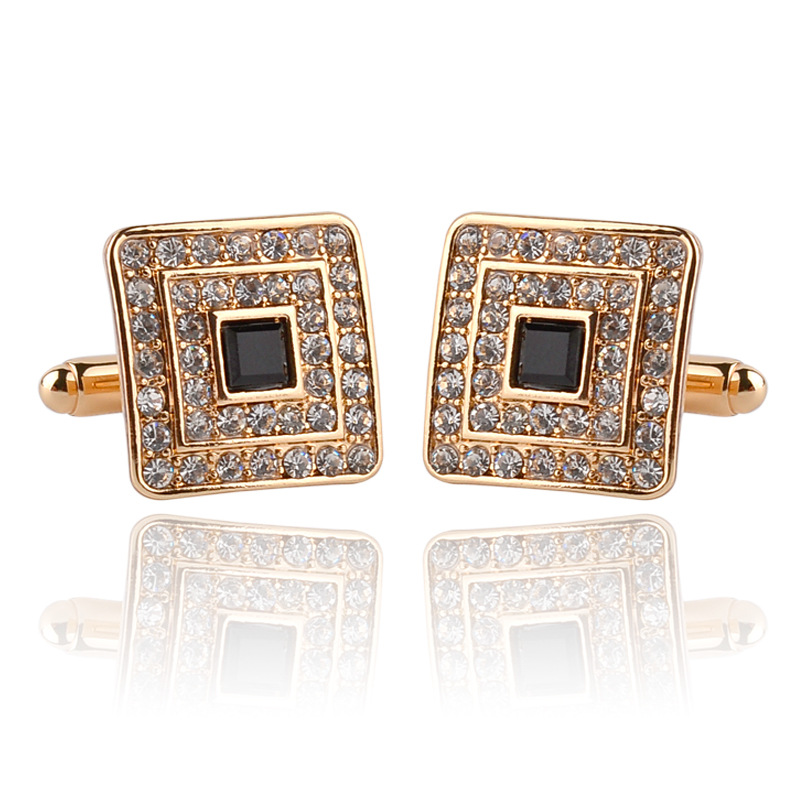 Women Men's Cuff Links For Shirts Luxury Rhinestone Crystal Business Lawyer Square Cufflinks Gemelos Wedding Decorations