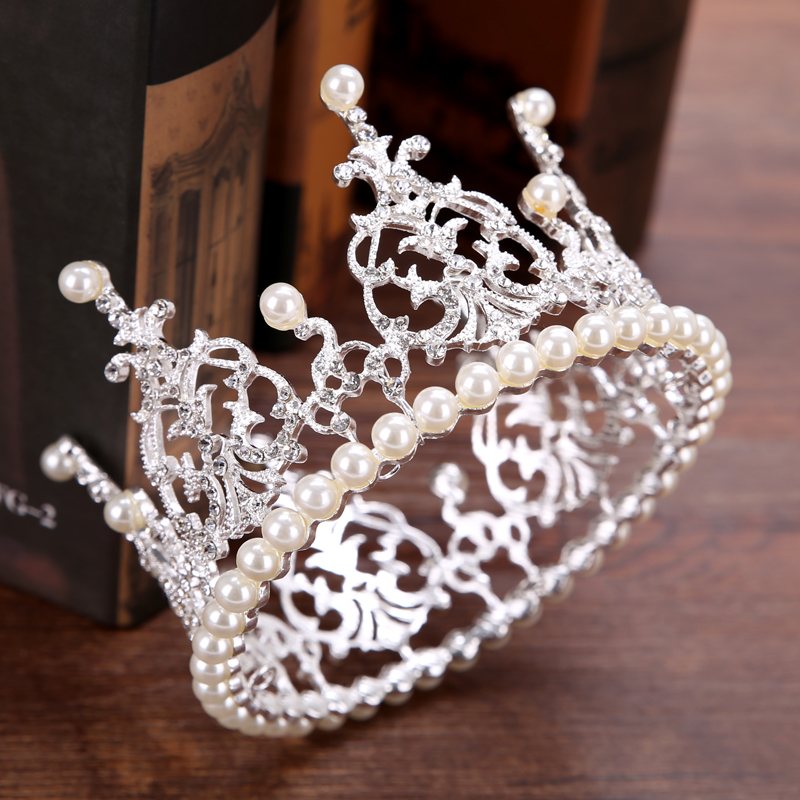 Diadem Bride Pearl Crown Wedding Tiara Accessories Round Crown For Queen Pageant Hair Jewelry Decoration