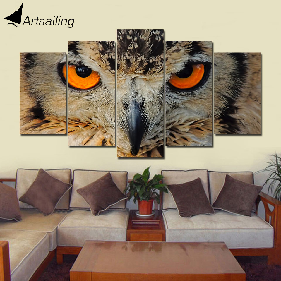 Us 5 99 40 Off Artsailing 5 Panel Wall Art On Canvas Home Decoration Accessories Modern Indian Owl Modern Decorative Canvas Art Print Up 315 In
