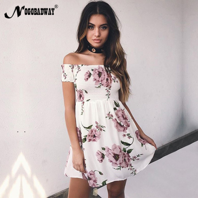 7ea9f41fbbd3 Flower print cute short women summer dress 2018 casual bohemian mini dress  off shoulder short sleeve sexy ladies floral robe new