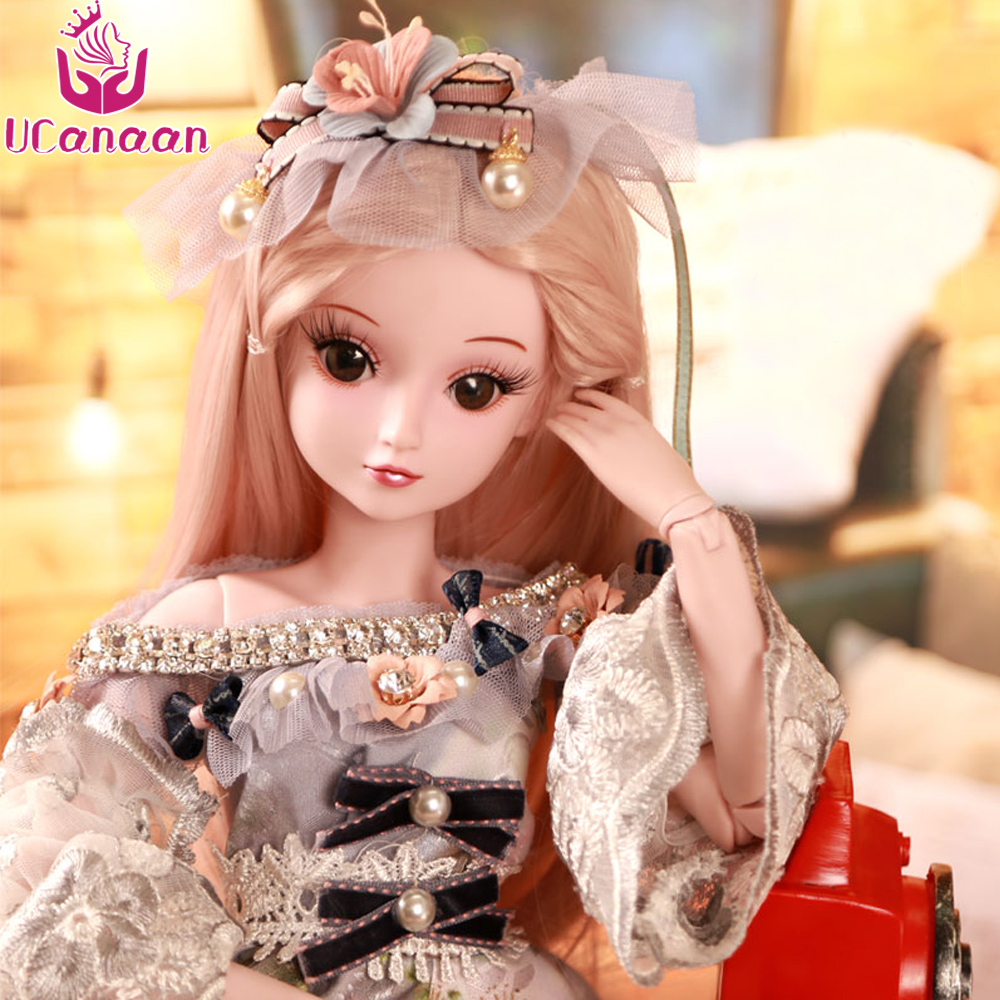 UCanaan 60CM Large BJD Doll Girls Princess Makeup Toys 19 Ball Jointed With Full Outfit SD Dolls Children DIY Dressup Max Gifts