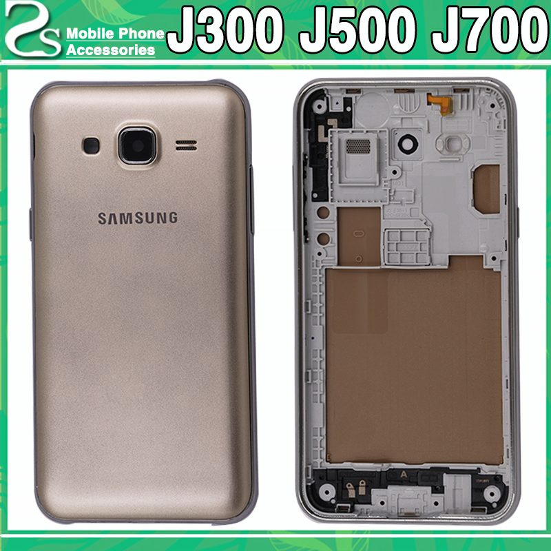 New J300 J500 J700 Battery Cove For Samsung Galaxy J3 J5 J7 2015(Dual) Back Cover + Middle Frame+Camere Lens Full Housing Case