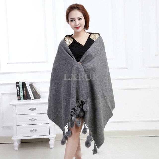 New Real 100% Wool Shawl With Rabbit Fur Ball Soft Wrap Solid Color Girls Scarf Pashmina Free Shipping AU00318