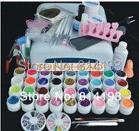 36w lamp Pro 36 Color UV Gel Builder Nail Art brush pen cuticle fork Form Files tips Finger topcoat Cleanser plus Tool