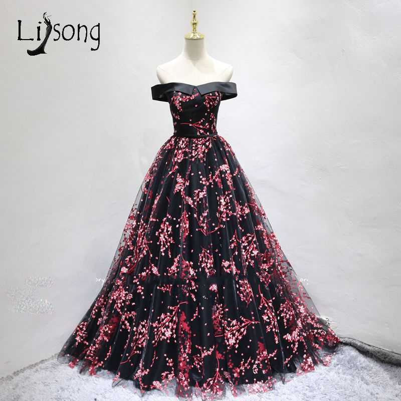 Chic Red Floral Print Long Prom Dresses Off Shoulder Lace Formal