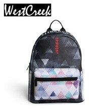 Westcreek Brand Fashion Geometric Backpack Women Bagpack Ladies Travel Bag PU Leather Small Backpack