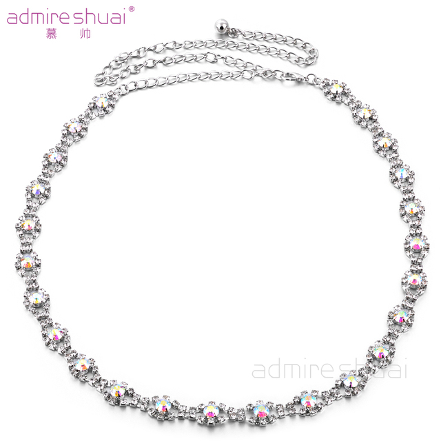 Fashion Women's Bling Crystal Rhinestone AB Colorful Waist Chain Belt for Party Dress Silver Metal Plated Adjustable BL-743
