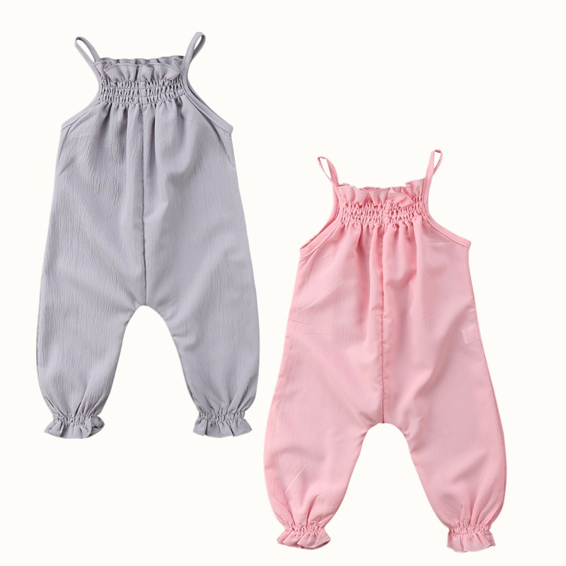 Toddler Baby Girl Sleeveless Summer Clothes Strap Kids Ruffles Long Trousers Chiffon Romper Jumpsuit Playsuit Sunsuit Clothing 2017 floral baby girl clothes summer sleeveless flower romper bodysuit ruffles halter jumpsuit headband 2pcs outfits sunsuit
