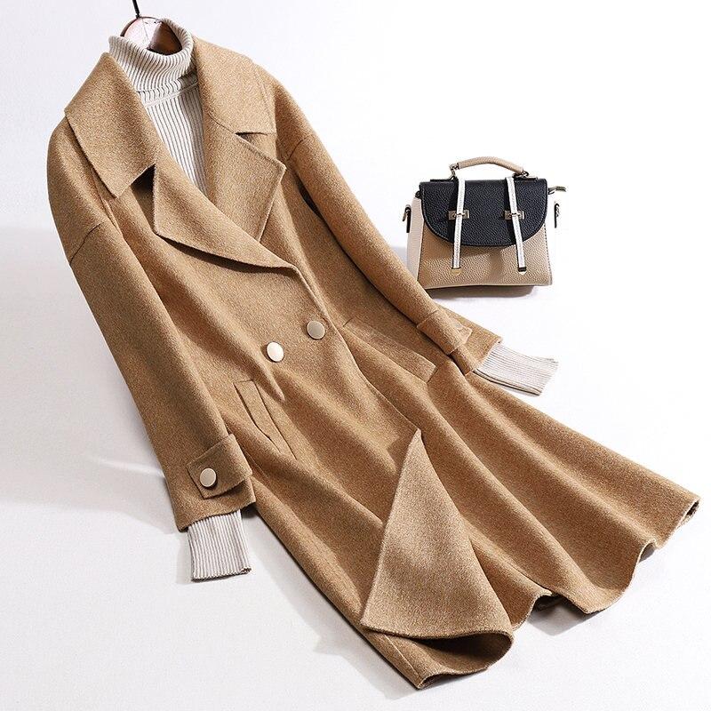 Hiver Alpaga À Vêtements Femmes Automne Blue khaki Tissu Femelle Style Manteau Longue camel Double Laine Face Cardigan De Boutonnage w44Pr1X