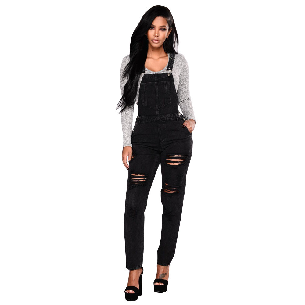 Women's Clothing Free Ostrich Fashion Wild Womens Loose Comfortable Denim Bib Mainstream Pants Overalls Stitching Knee Hole Strap Black Jumpsuit